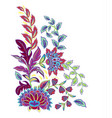 vintage flowers embroidery patch vector image