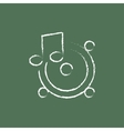Loudspeakers with music note icon drawn in chalk vector image vector image