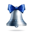 Silver jingle bell with blue bow vector image