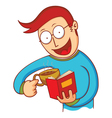 man with coffee and book vector image