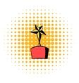Star award icon comics style vector image
