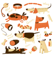 cartoon set with dogs and their ammunition vector image