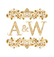 AW vintage initials logo symbol Letters A W vector image