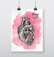 Beautiful hand-draw poster mechanical heart vector image