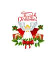 merry christmas angel icon vector image