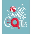 Water Games with Inflatables Lettering Poster vector image