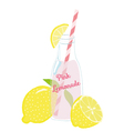 Bottle of Pink Lemonade with Lemons vector image