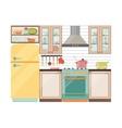 Kitchen interior Kitchen appliances and utensils vector image