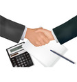 handshake over paper and pen vector image
