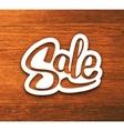 Vintage Sale banner sticker on wood background vector image vector image