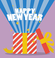 Happy new year with a gift box vector image