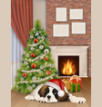 interior with christmas tree fireplace dog vector image