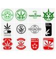 Medical marijuana or cannabis logos labels vector image