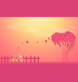 valentines day concept tree made out of hearts vector image