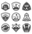 vintage monochrome video game labels set vector image