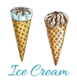 Ice cream wafer cones isolated sketch icons vector image