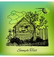 Black hand drawn country house landscape on vector image