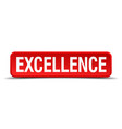excellence red 3d square button isolated on white vector image