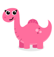 Cute pink dinosaurus isolated on white vector image