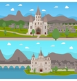 Medieval Ancient Temples Horizontal Compositions vector image