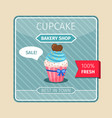 blue cupcake with chocolate heart card vector image