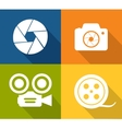 Camera and shutter icons vector image