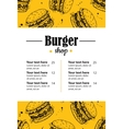 hand drawn burger menu Vintage hand drawn vector image
