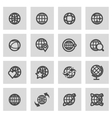 line globe icons set vector image