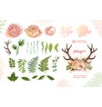 Magic wreath with deer horns and roses green vector image