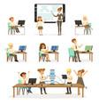 school children at the informatics and programming vector image