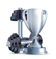 Silver cup with metal realistic dumbbells vector image