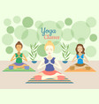 three beautiful women practicing yoga exercises in vector image