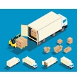 Loading cargo in the truck isometric vector image vector image