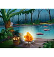 river and camp fire vector image vector image