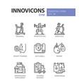 gym - modern color single line icons set vector image