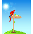 red parrot and flowers vector image vector image