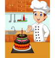 funny chef cartoon with her made cake vector image vector image