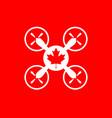 Drone quadrocopter icon maple leaf symbol vector image