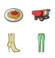 Food shoes and other web icon in cartoon style vector image