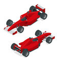 isometric red sport car or formula 1 car flat 3d vector image