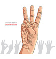 Numbers hand signs set number three detailed vector image