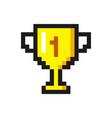 pixel art golden cup award trophy icon vector image
