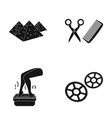 pyramids tools for a hairstyle and other web icon vector image