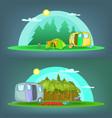 camping 2 banner set horizontal cartoon style vector image