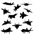 Fighter aircraft silhouettes vector image vector image