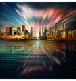 abstract sea sunset dark background with panorama vector image