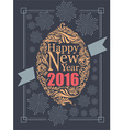 Happy new year typography and fire work retro post vector image