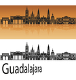 Guadalajara skyline in orange vector image vector image