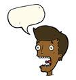 cartoon terrified man with speech bubble vector image