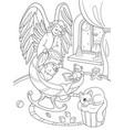 cartoon coloring book the guardian angel vector image